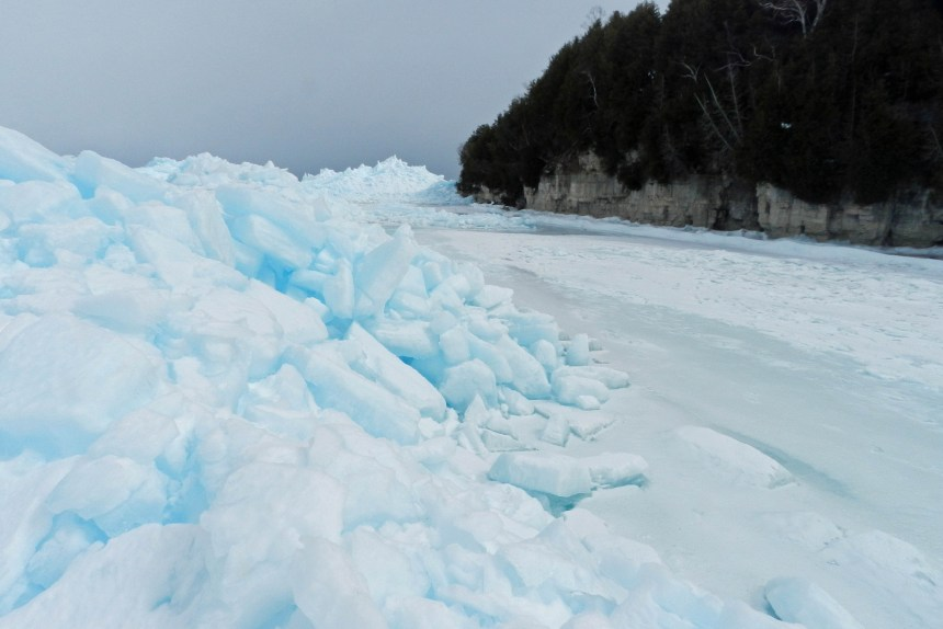 Ice piled up just off Door Bluff County Park, March 26, 1015