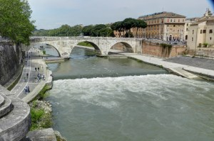 A low head dam near Rome's Tiber Island would pose a significant safety hazard to anyone who entered the river near here.