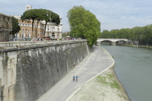 Steep walls around the Tiber River were constructed in the late 1800s to protect the city of Rome from flooding.