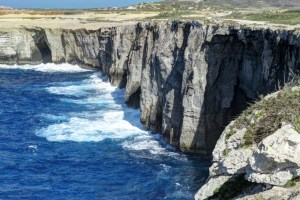 Impressive cliffs of Gozo's northern coastline.
