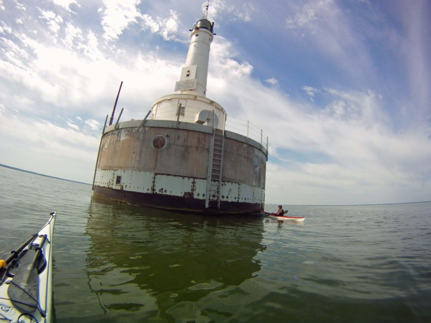 The harbor tower in the middle of Green Bay is an impressive 75 feet tall. After the Coast Guard took charge of the country's lighthouses in 1939, Green Bay Harbor Entrance Lighthouse was typically staffed by a couple of coastguardsmen who lived in the circular portion of the tower, serving alternating duties of two weeks on and two weeks off.