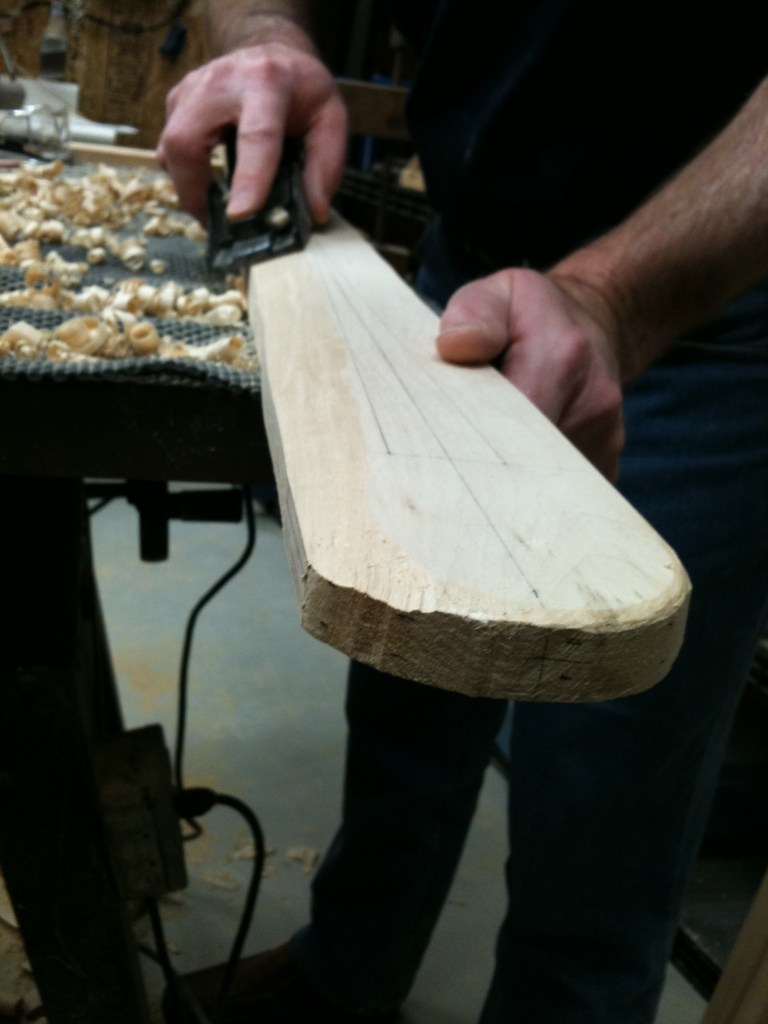 As Chuck Holst puts it, I free the shape of the paddle from inside the wood.