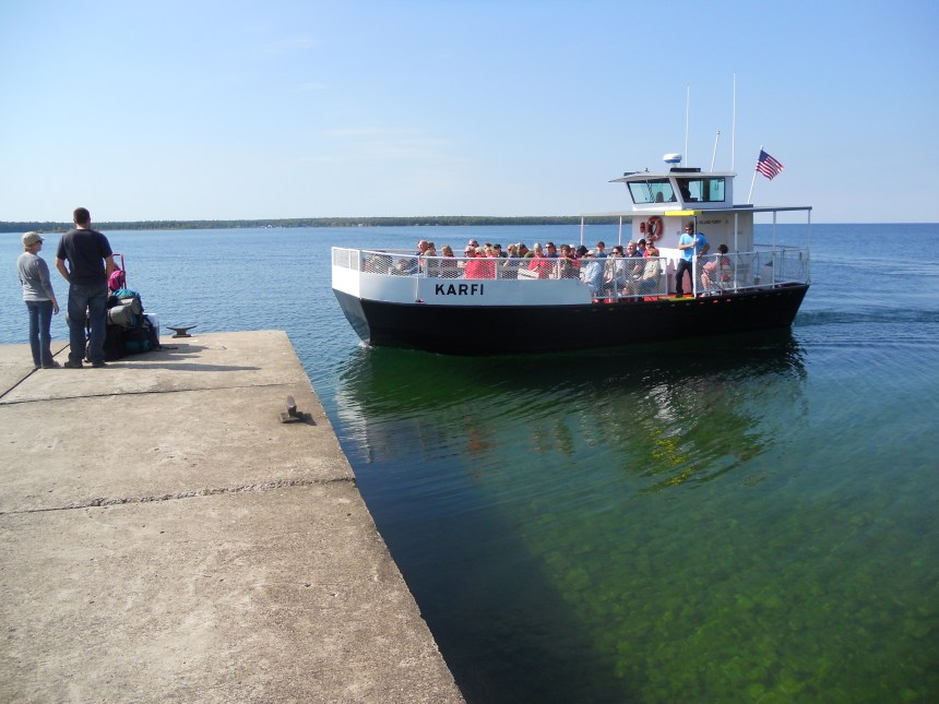 Visitor arrive on the Karfi passenger ferry from Washington Island.