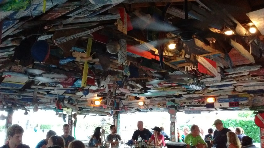 Guests are encouraged to turn driftwood into works of art to hang in the Beach Nuts bar.