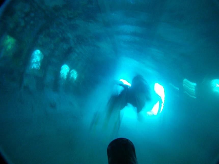 Diving through the cabin of a sunken Dash 80 airplane