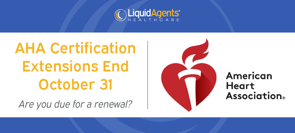 COVID-19 Extension for AHA Certification Renewals Ends Oct. 31