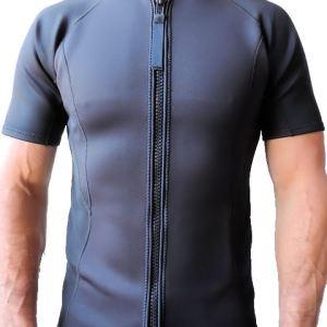 Men's 2mm Wetsuit Jacket, Full Front Zipper, Short Sleeve