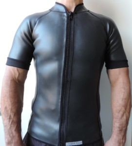 2mm smooth skin wetsuit jacket, short sleeve, full front zipper