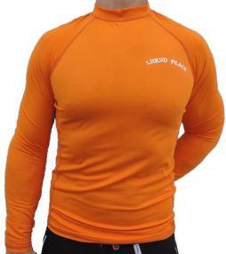 orange, long sleeve, rash guard