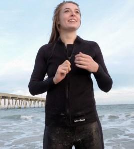 Women's 2/1mm Wetsuit Jacket, Full Front Zipper, Long Sleeve