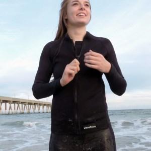 Women's 2-1mm Wetsuit Jacket, Full Front Zipper, Long Sleeve