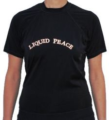 Women's, Loose-Fit, Short Sleeve, Rash Guard with Liquid Peace Letters.