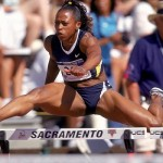 22 Jul 2000: Gail Devers leaps over the hurdle in the Womens 100m Hurdles Event during the 2000 US Olympic Track & Field Trials at Hornet Stadium in Scaramento, California. Mandatory Credit: Andy Lyons /Allsport