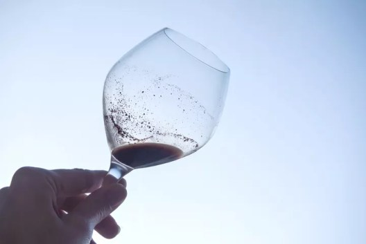 Wine glass with sediment
