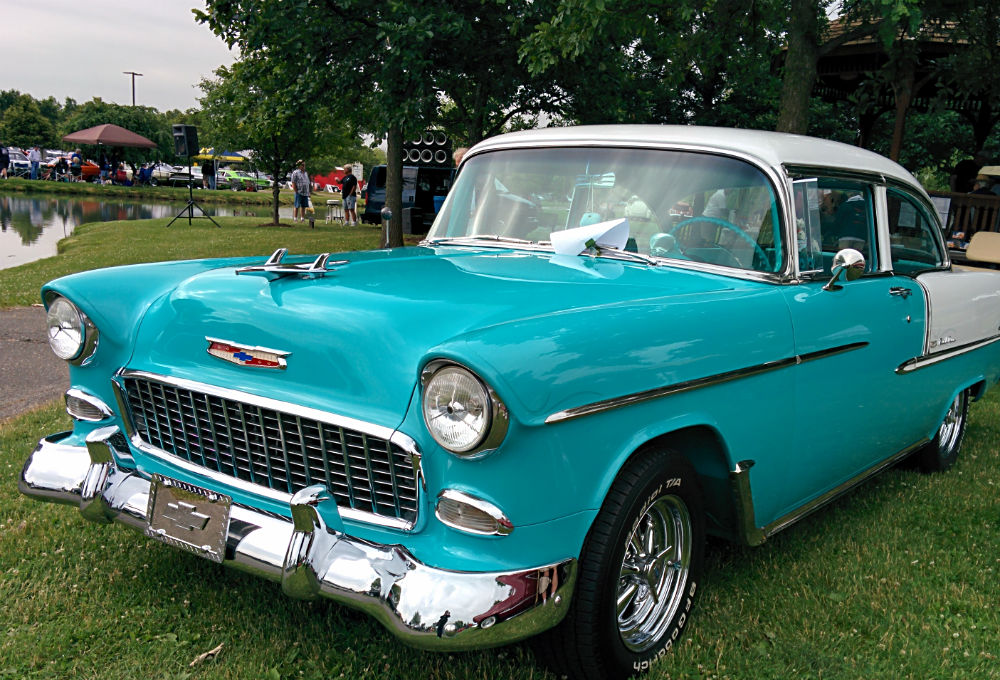 1955 Blue Chevy Bel Air with white hardtop