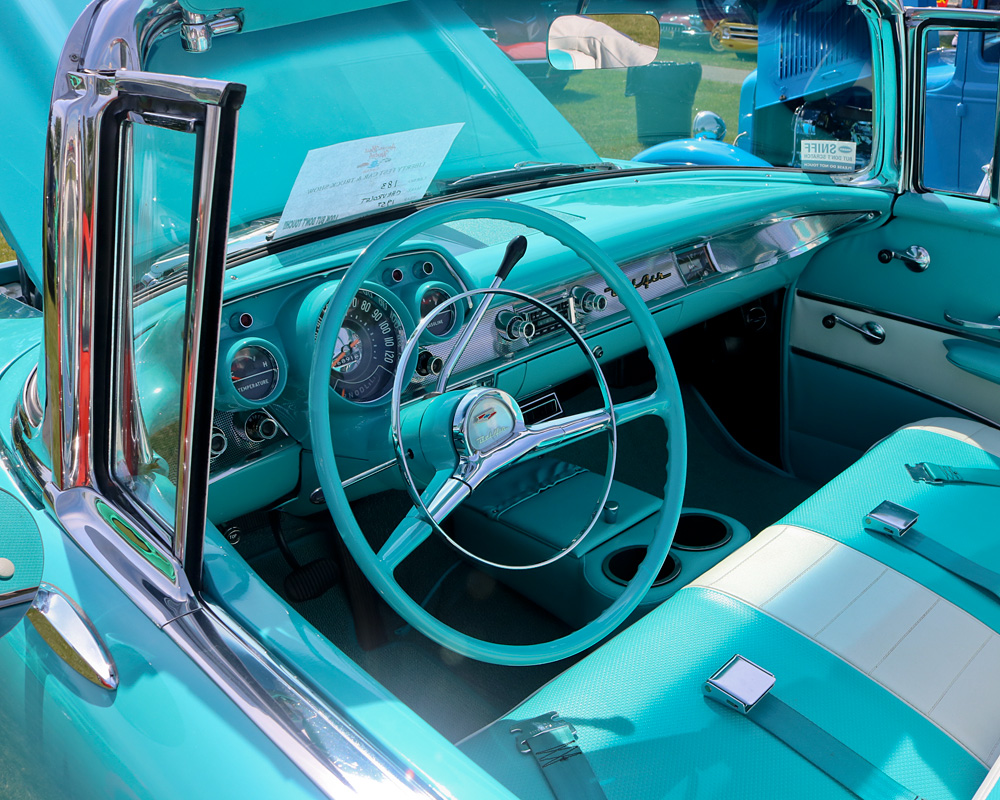 Photo Of The Week 1957 Chevy Bel Air Convertible Colors Turquoise Blue Dashboard With Matching Steering Wheel