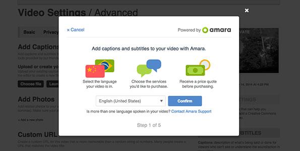 Amara captioning interface