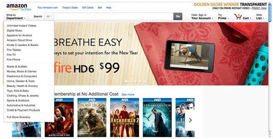Amazon page layout