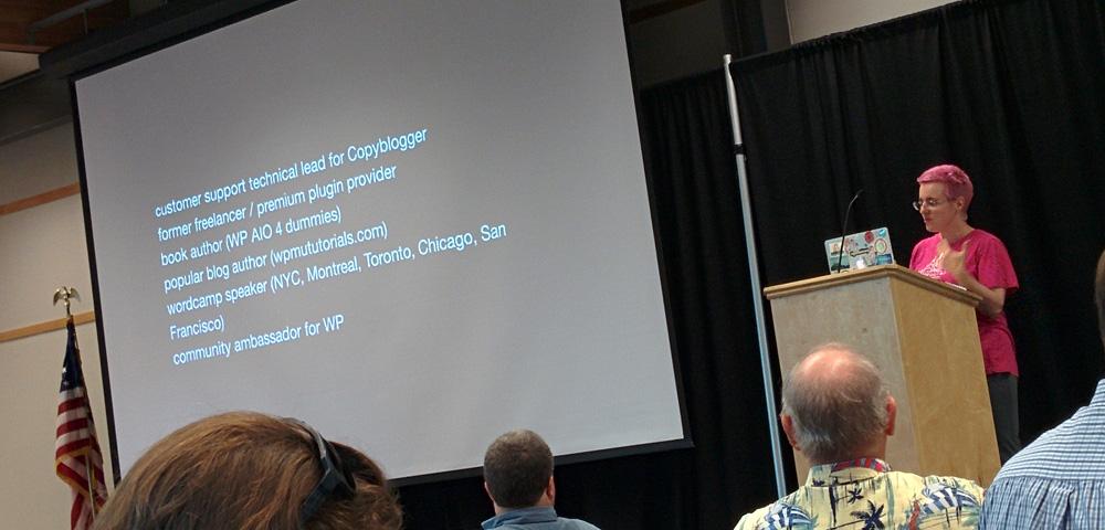 Andrea Rennick giving keynote at WordCamp Columbus 2015