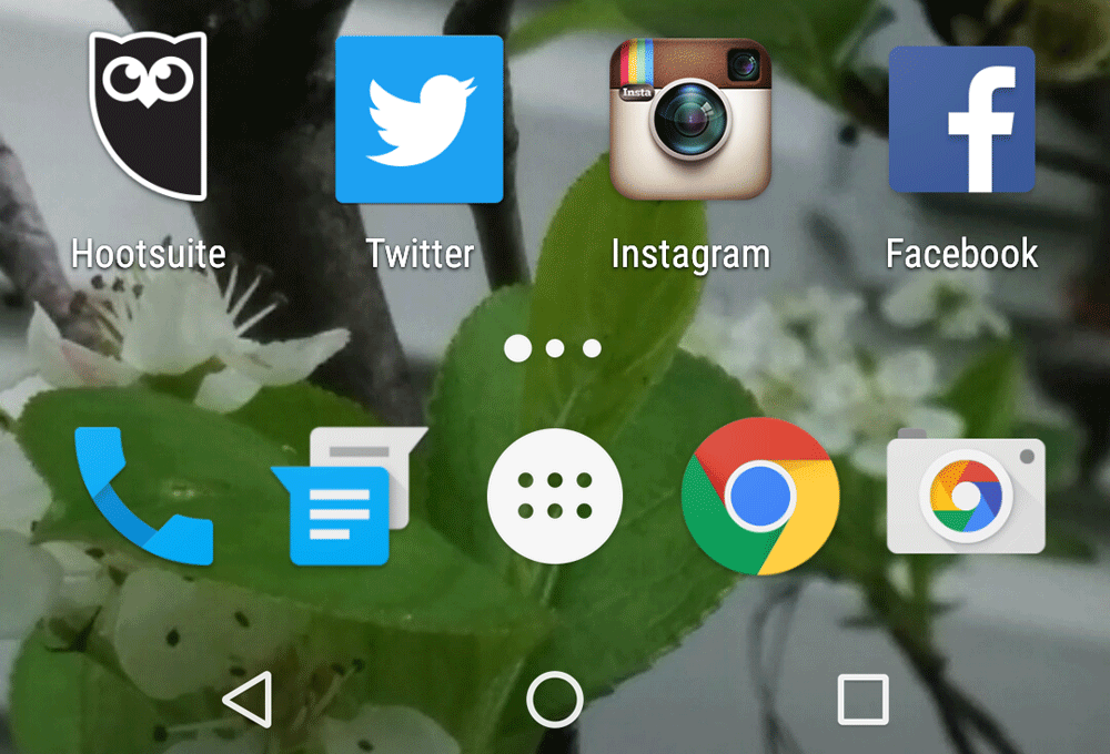 Home screen on Nexus 5 smartphone with Hootsuite, Twitter, Facebook, Chrome, Messaging, Phone, and Camera icons