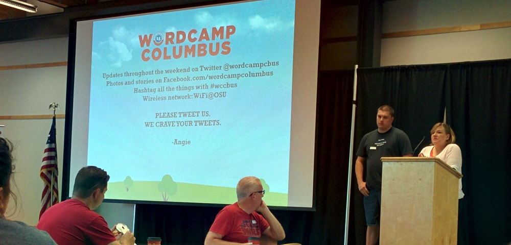 Angie Meeker and Jeff Chandler on stage kicking off Day 2 of WordCamp Columbus