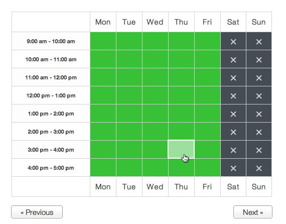 Appointments WordPress plugin schedule