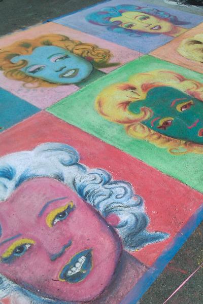 Sidewalk chalk painting of Marilyn Monroe