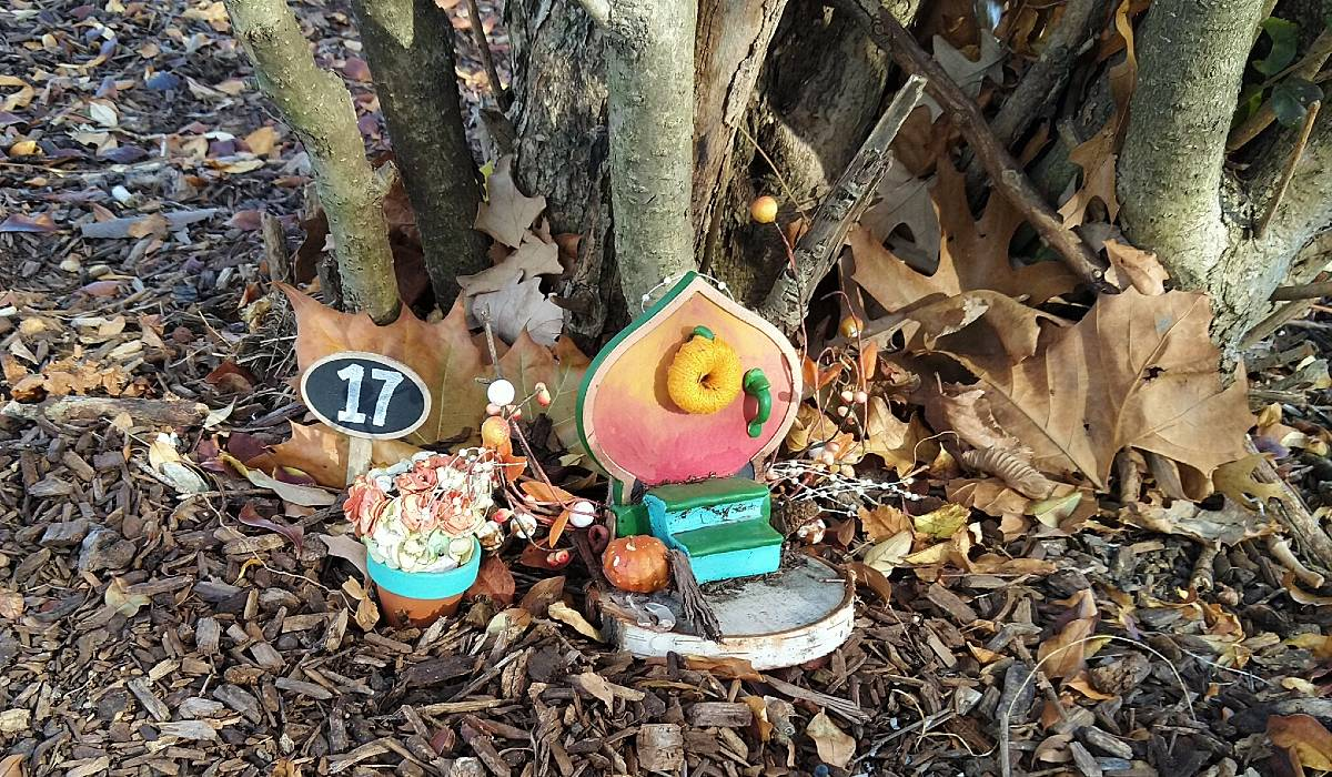 Bright green, pin, and orange fairy door surrounded by fallen leaves and pumpkins.