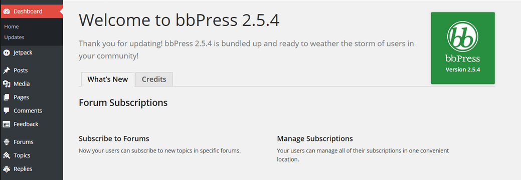 bbPress welcome screen