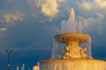 Shooting water from the top of the James Scott Fountain