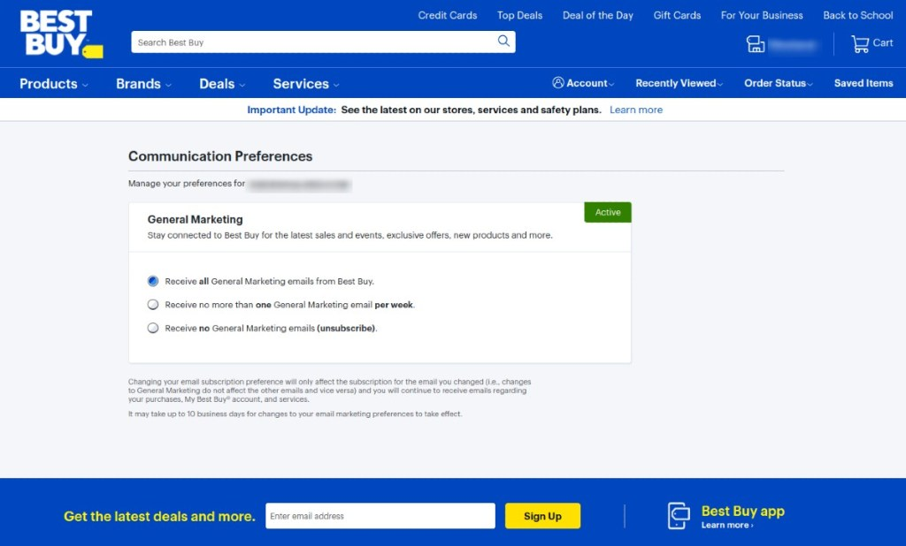 Best Buy page for unsubcribing from mailing list displays three options.