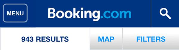 Booking dot come navigation menu
