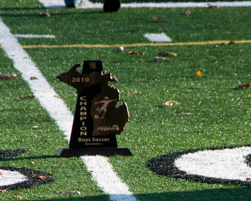 Regional soccer trophy on soccer field