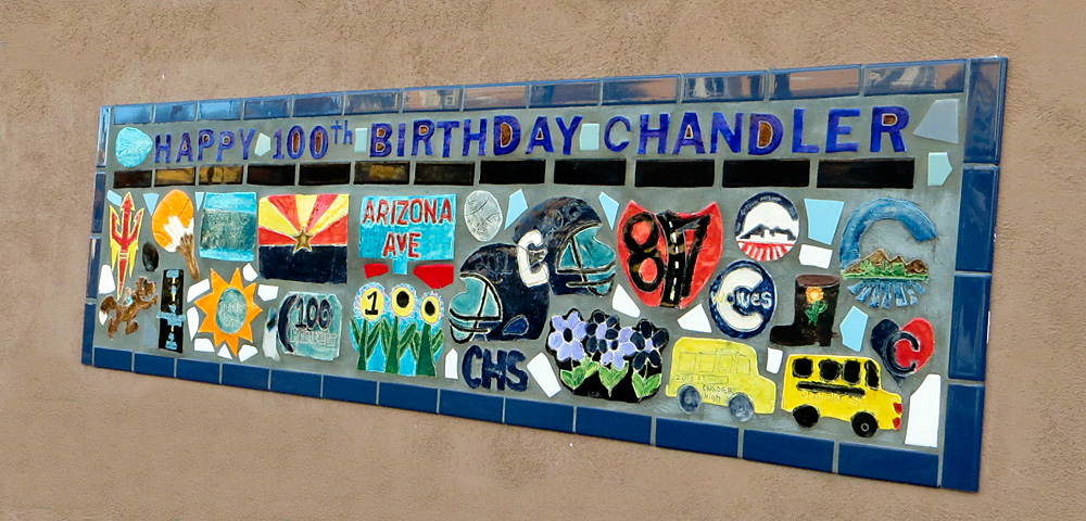 Mosaic tile celebrating the 100th anniversary of Chandler's founding
