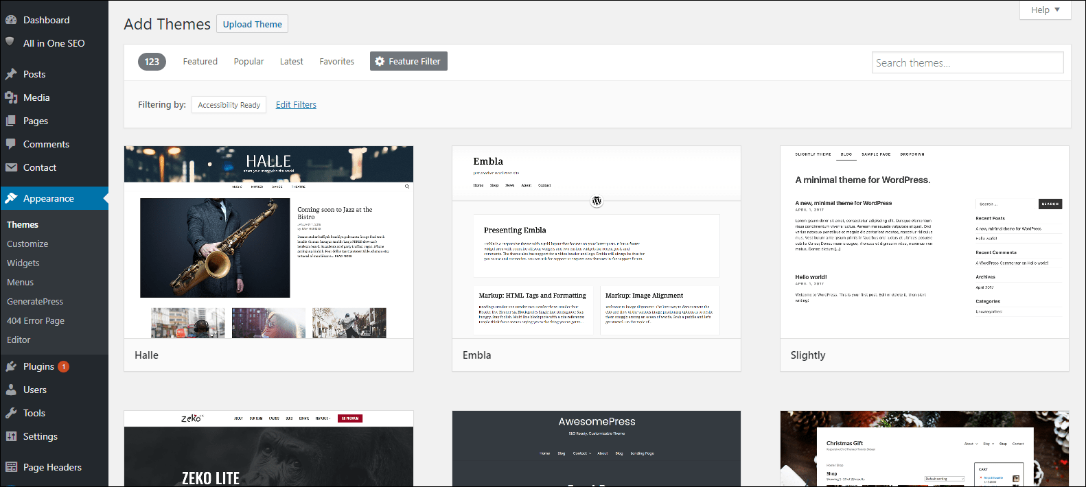 WordPress dashboard with grid display of available themes