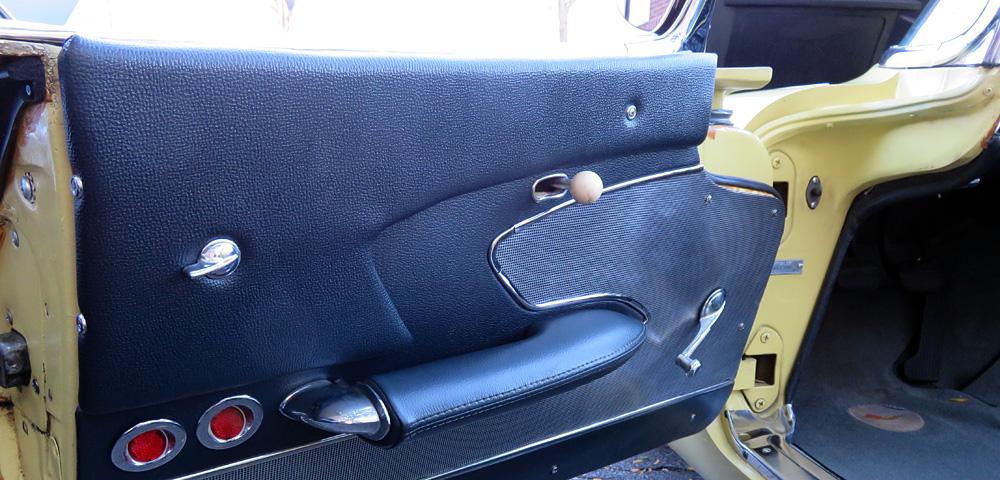 Blue upholstered interior driver side door