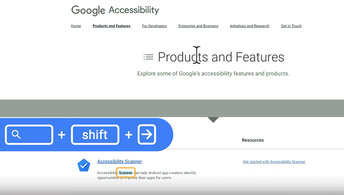 Key sequence of shift + search key overlay on the Google Accessibility