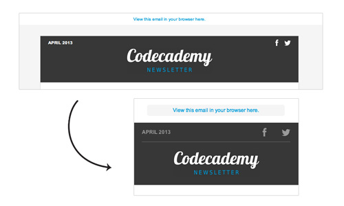 Codeacademy email newsletter header display for desktop and mobile