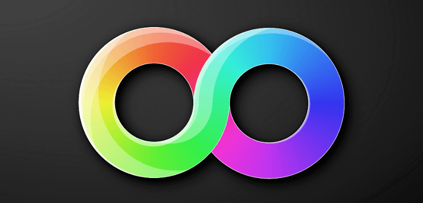 rainbow of orange, green, blue, pink, and purple colors fill an infinity symbol