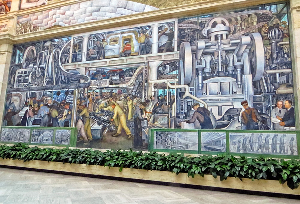 Detroit Industry mural, south wall depicting Detroit factory workers