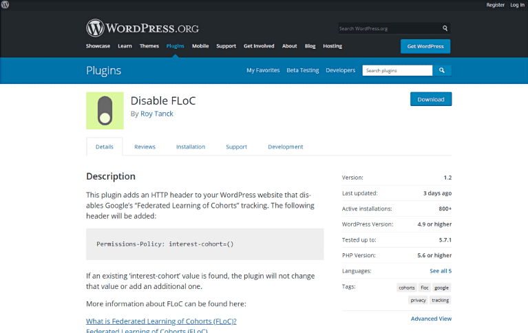 Disable FLoC plugin home page on the WordPress plugin repository.