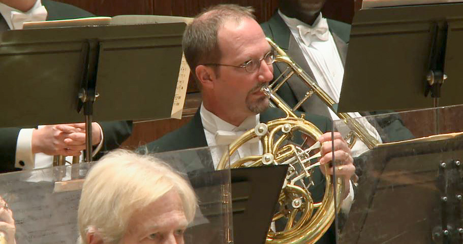 French horn player in the Detroit Symphony Orchestra