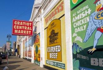 Eastern Market storefronts on Gratiot Avenue