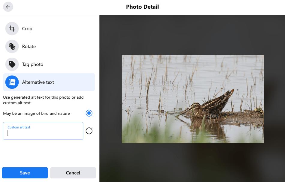Facebook photo alternative text options