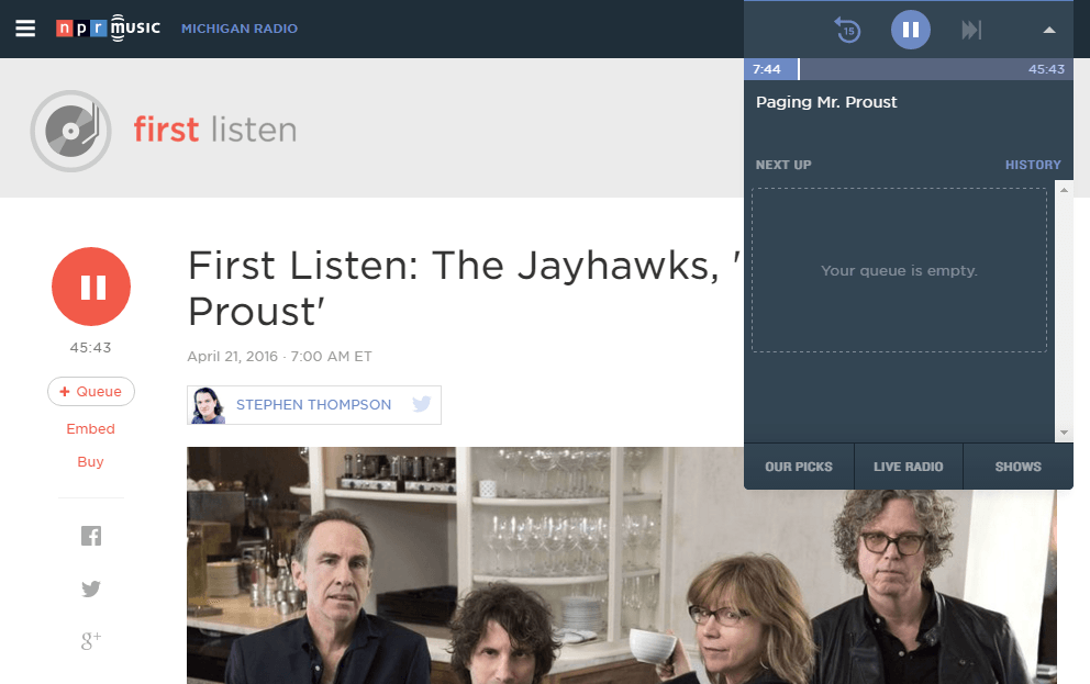 National Public Radio First Listen audio player controls for The Jawhawks Proust album