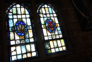 Stained glass windows in the First Presbyterian Church sanctuary