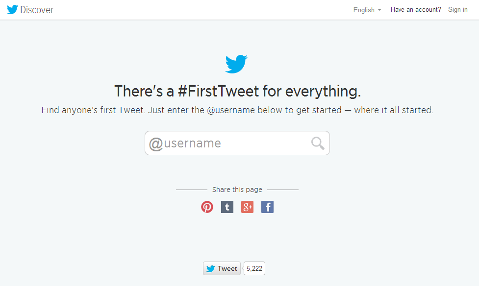 First tweet search tool interface