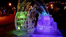 Ford GT40 sports car ice sculpture in deep purple light, by abstract ice sculpture