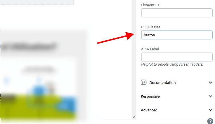 GenerateBlocks CSS Classes settings in the block editor Advanced settings panel.