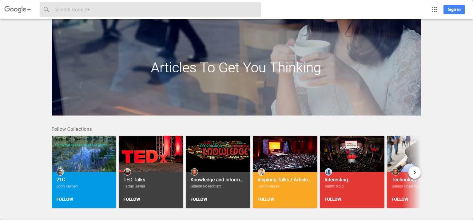 Google+ home page